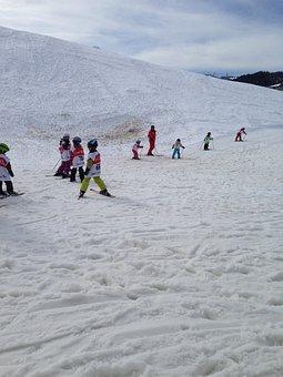 Skiing, Children, Runway, Snowy, Beginner Course