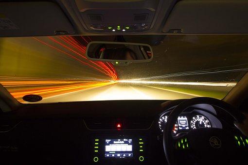 Drive, Night, Car, Vehicle, Road, Speed, Traffic