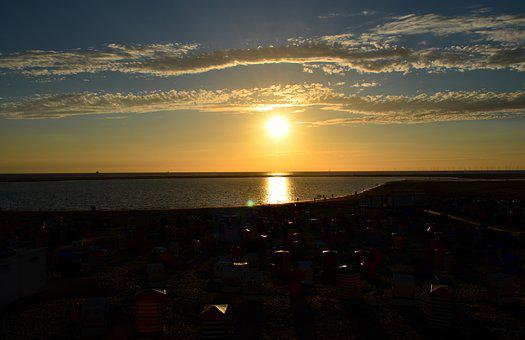 Sunset, Borkum, Beach, Clubs, Promenade, Afterglow