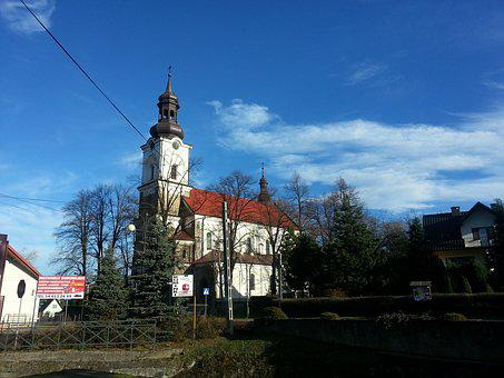 Church, Poland, Winter, White, Red, Architecture