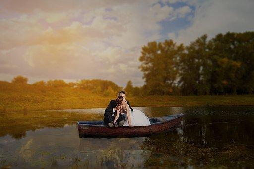 Bride And Groom, Bride, Groom, Boot, Lake, Landscape