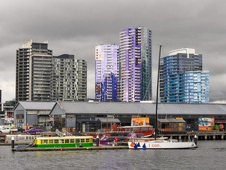 City, Boats, Building, Harbor, Skyscraper, Cityscape