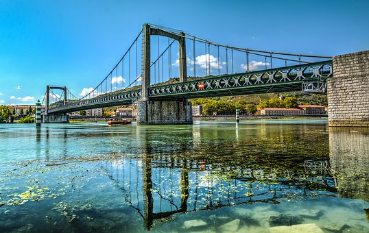 Bridge, River, Rhone, France, Architecture, Europe