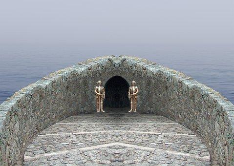 Sea, Castle, Underworld, Knight, Stones, Water, Fog