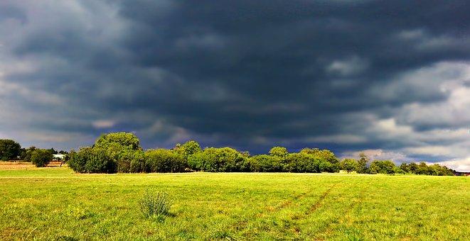 Clouds, Storm, Rain, Field, Meadow, Nature, Landscape