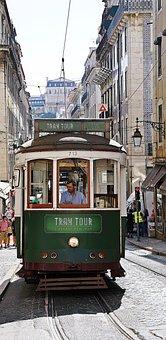 Lisbon, Tram, Vintage, Street, Transportation, Old
