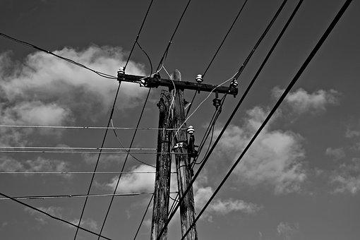 Black And White, Pylon, Cable, Current, Villanypózna