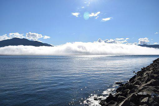 Bay, Cloud, Fog, Sun, Blue, White, Black, Rock, Still