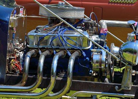 Hot Rod, Engine, Customized, Retro, Restored, Car
