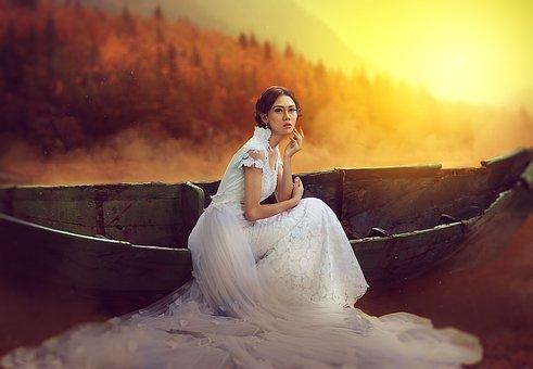 Girl, Beauty, Fantasy, Boat, Sunrise, Fog, Model