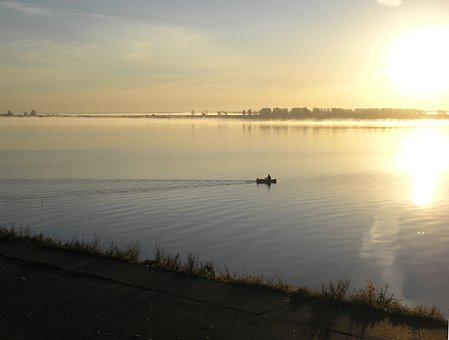 River, Morning, Dawn, Sun, Sky, Light, Beach, Boat