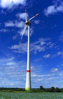 Pinwheel, Wind Power, Energy, Blue
