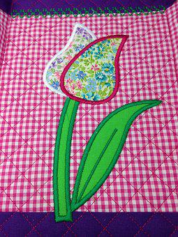 Embroidery, Quilt, Sew, Hand Labor, Tulip, Flower