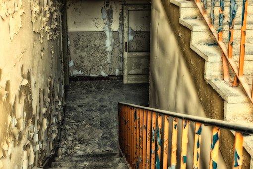 Stairs, Staircase, Railing, Gradually, Door, Stair Step