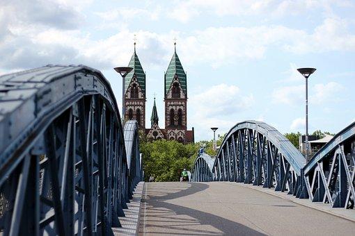 Bridge, View, Freiburg, Blue Bridge, Strive, Church