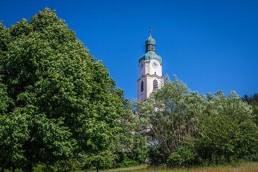 Bavaria, Village, Church, Bavarian Village, Steeple