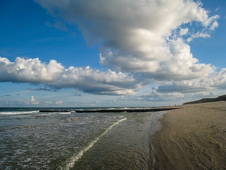 Sylt, Beach, North Sea, Dunes, Clouds, Holiday, Sunset