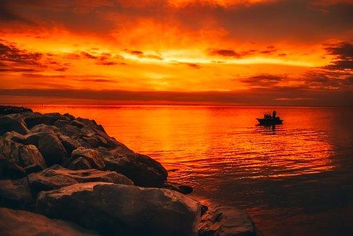 Alabama, Sunset, Dusk, Boat, Fishing, Rock, Boulders