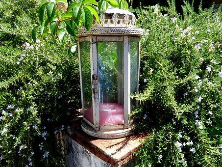 Lantern, Glass, Candle, Garden, Green, Flowers