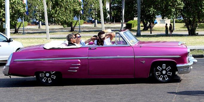 Cuba, Havana, Car, Vintage, Pink, Convertible