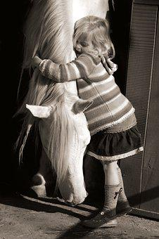 Hug, Girl, Love, Horse, Grey, Kid, Embrace, Equestrian
