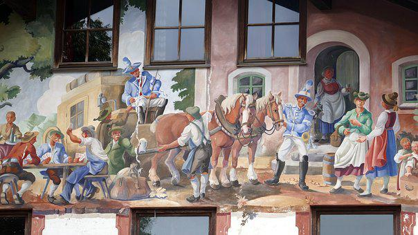 Facade, Mural, Bavaria, Painting, Frescos, Window