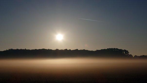 Sunrise, Morning, Sunbeam, Fog, Nature, Fields