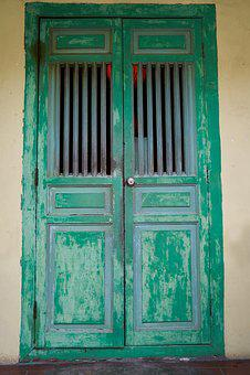 Green, Door, Architecture, Old, Color, Art