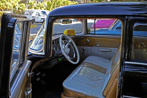 Cuba, Havana, Taxi, Car, Antique, Interior