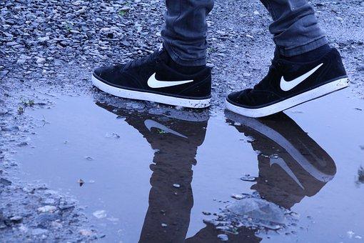 Shoes, Nike, Rain, Wet, Legs, Feet, Leisure, Fashion