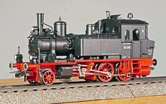 Steam Locomotive, Model, Scale H0, 1-87, Locally Ground