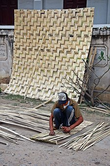 Bamboo, Mat, Making, Natural, Table, Pattern, Mynamar