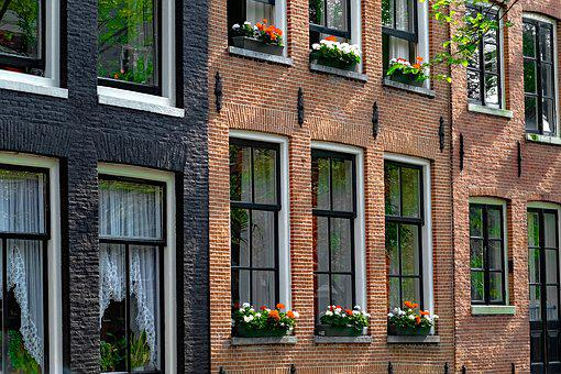 Home, House, Brick, Painted Brick, Flowers
