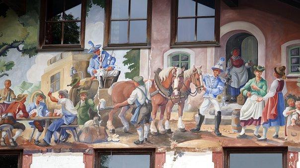 Facade, Mural, Bavaria, Painting, Frescos, Window