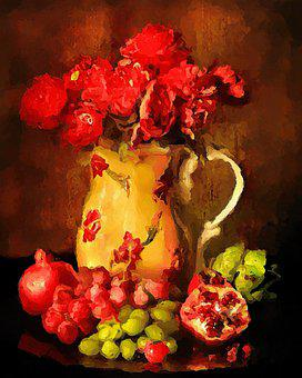 Still Life, Fruits, Flowers, Red, Yellow, Food, Fresh