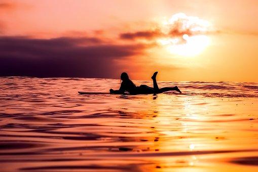 Surfer, Sea, Ocean, Sunset, Dusk, Silhouette, Female