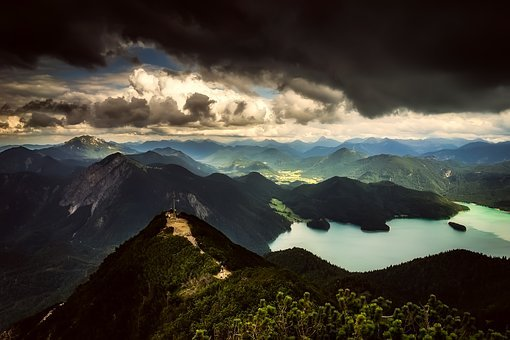 Mountains, Sky, Clouds, Sunset, Peak, Overlook, River