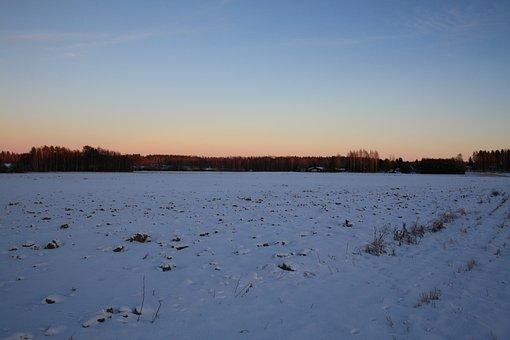 Sun, Winter, Landscape, Sky, Finnish, Snow, Nature