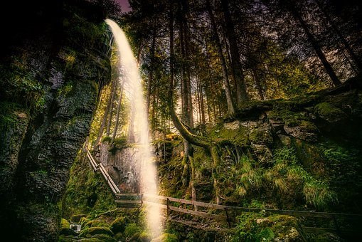Germany, Waterfall, Landscape, Cliff, Forest, Trees