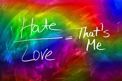 Love, Hatred, Board, Blackboard, Font, I, Opposition