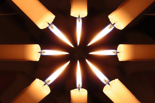 Candles, Arrangement, Light, Pattern, Star, Middle