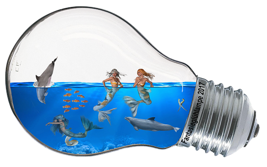 Fantasy, Light Bulb, Water, Mermaid, Dolphin, Fish