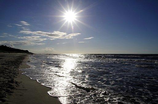 Sea, The Sun, Beach, The Waves, Blue, Glow, The Coast