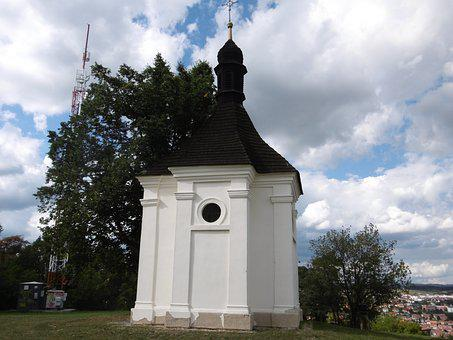 Chapel, Clouds, Grass, View, Hill