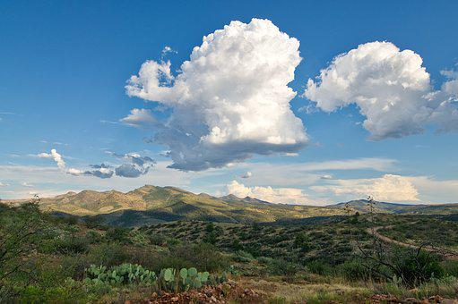 Clouds, Desert, Cactus, Mountains, Arizona, Summer