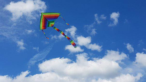 Kite, Sky, Clouds, Fun, Summer, Fly, Outdoor, Color