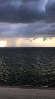 Storm, Rain In The Clouds, Water, Sun, Landscape, Coast