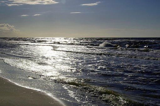 Sea, Beach, The Waves, Blue, Glow, The Coast, Sky