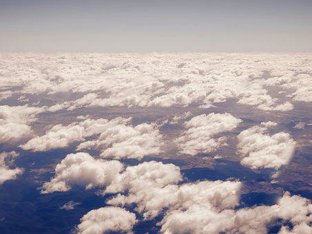 Aerial, Clouds, Sky, View, Plane, Background, Blue