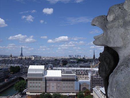 Paris, Notre Dame, Landscape, Eiffel Tower, Sky, Blue